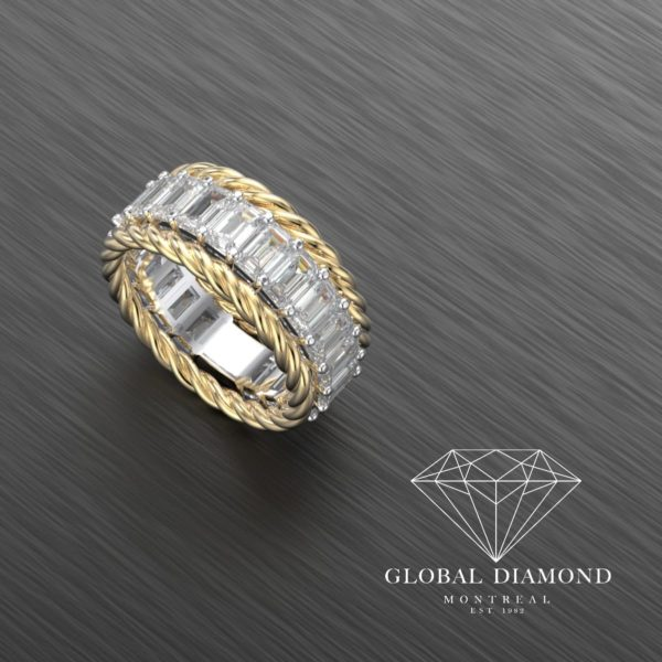 Emerald cut diamond eternity ring in 18k yellow gold & 19k white gold