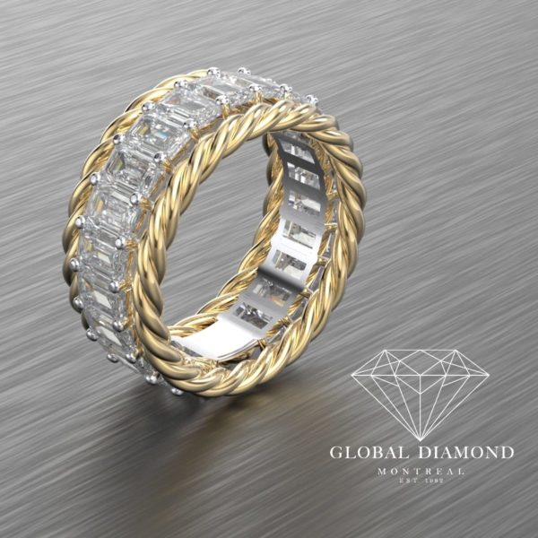 Emerald cut diamond eternity in 18k yellow gold & 19k white gold vvs