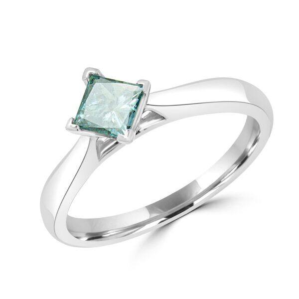 Solitaire enhanced blue diamond ring 1.04 (ctw) in14k white gold