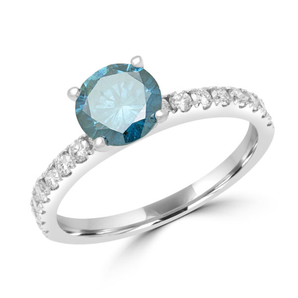 Enhanced blue solitaire ring 1.40 (ctw) in 14k white gold