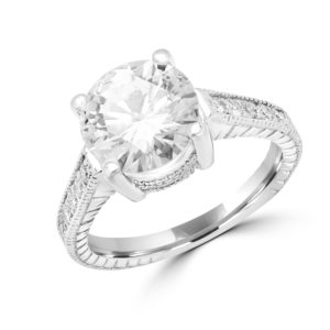 Vintage style solitaire engagement ring 2.78 (ctw) in 14k white gold