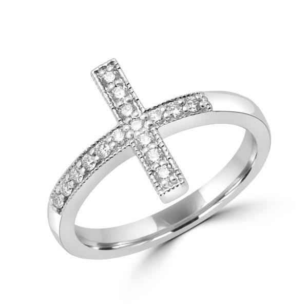 Elegant cross diamond ring in 10k white gold