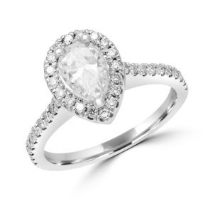 Pear shape halo engagement ring 1.09 (ctw) in 14k gold