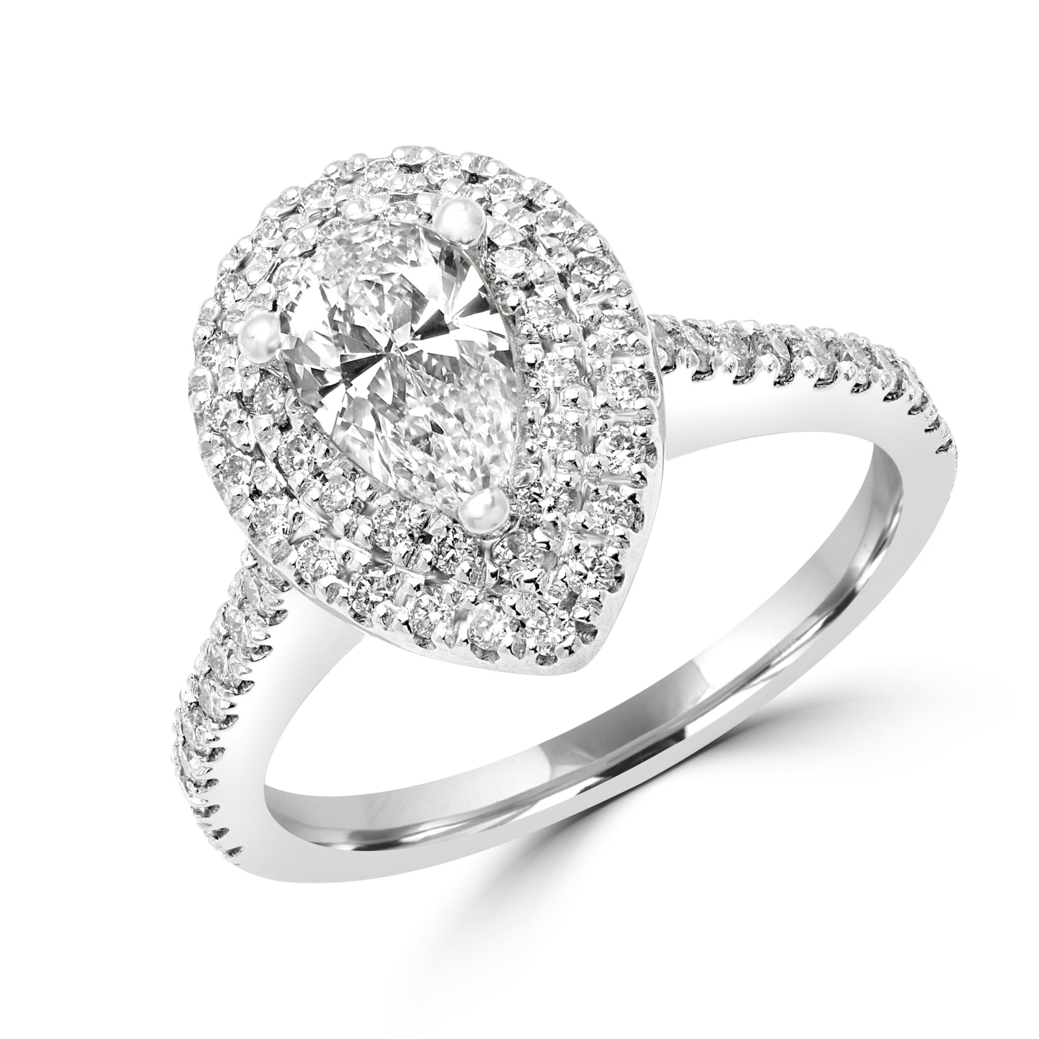 Pear Shape Double Halo Engagement Ring 1.11 (ctw) In 14k