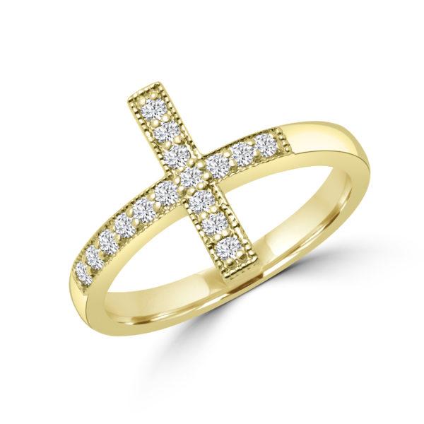 Elegant cross diamond ring in 10k yellow gold