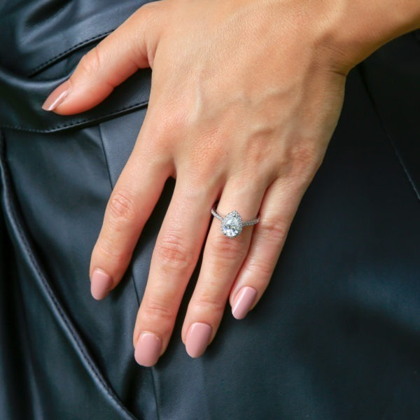 Pear shape halo engagement ring 1.39 (ctw) in 14k white gold