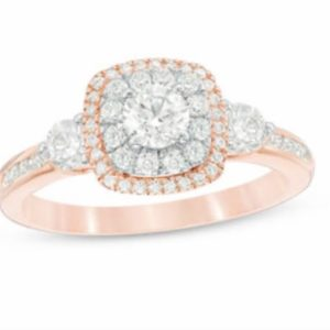 Sparkle away diamond halo ring in 14k rose gold