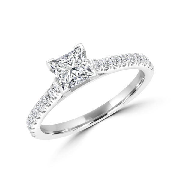 Princess cut solitaire diamond ring 1.05(ctw) in 14k white gold