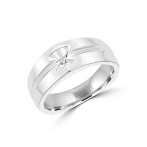 Wedding Band Hour Glass Design (0.02 ctw) in 10k white gold
