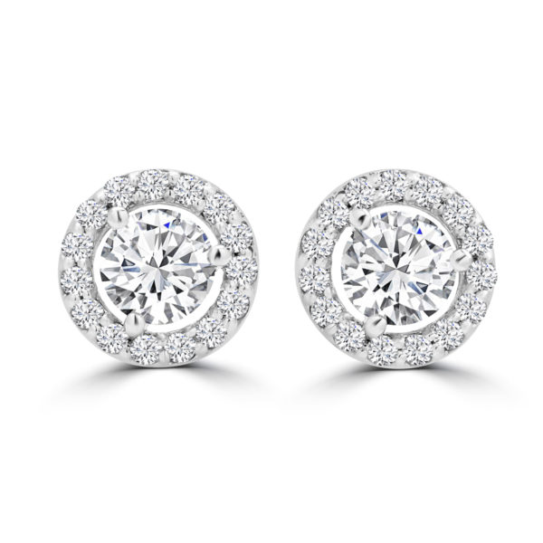 Halo diamond earrings 1.21(ctw) in 14k white gold