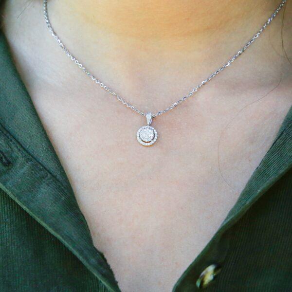 Gracious diamond halo pendant 0.45 (ctw) in 14k white gold
