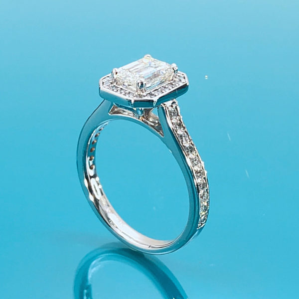 Royal halo emerald cut engagement ring 1.52 (ctw )