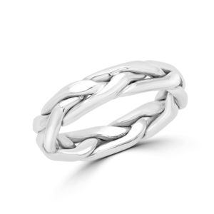 White gold braided wedding Band (4mm)