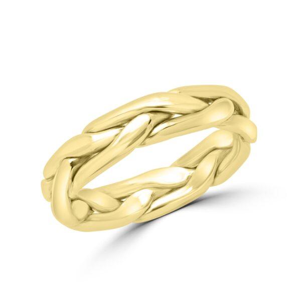 Yellow gold braided wedding Band (4.2mm)