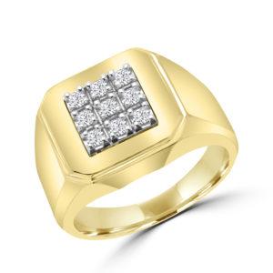 Square design men's diamond ring 0.16(ctw) in 10k yellow gold
