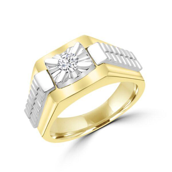 Elevated men's diamond ring 0.16 (ctw) in 10k yellow gold