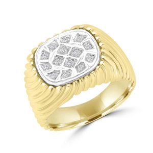 Luxurious men's diamond ring 0.18(ctw) in 10k yellow gold