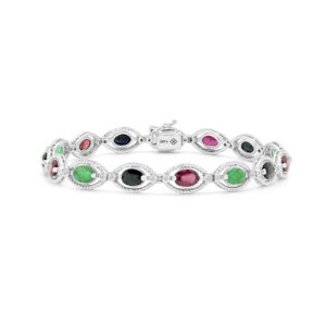 Tricolour ruby emerald sapphire bracelet in 14k white gold