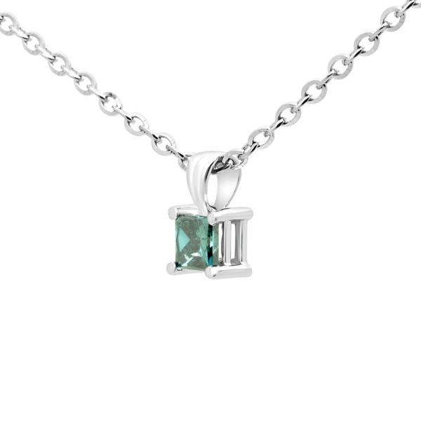 Princess cut blue diamond pendant 0.39 (ctw) in 14k white gold