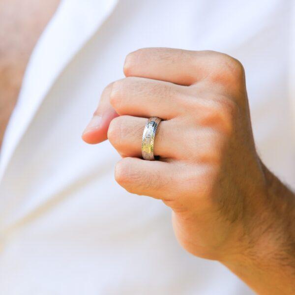 Wedding Band - Greek key Design Sandblasted Finish