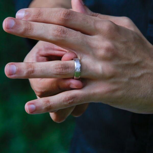 Men solitaire diamond ring wedding band 0.15 (ctw)