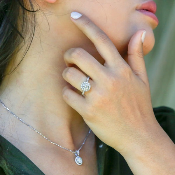 Head turning halo diamond ring 1.64 (ctw) in 14k white gold