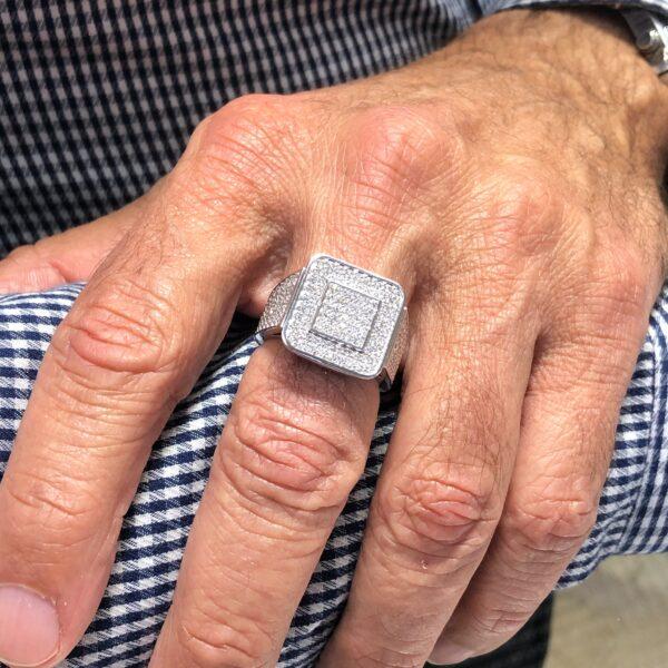 Men's success statement diamond ring 2.70 (ctw) in 10k white gold