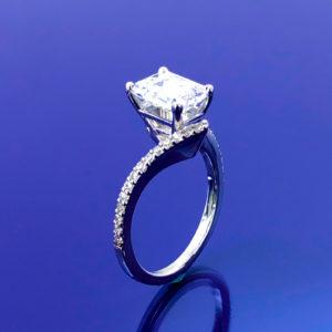 Twisted emerald cut diamond ring 1.75 (ctw ) in 14k white gold wedding