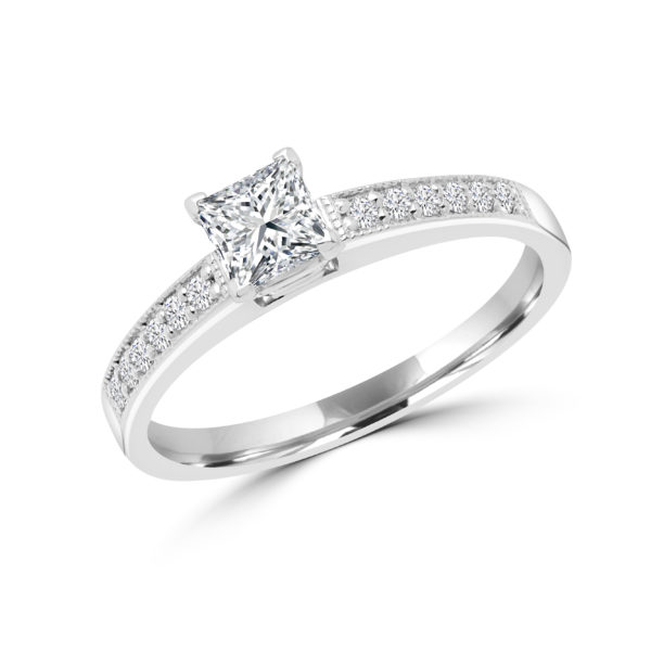 Princess cut solitaire diamond ring 0.64 (ctw) in 14k gold