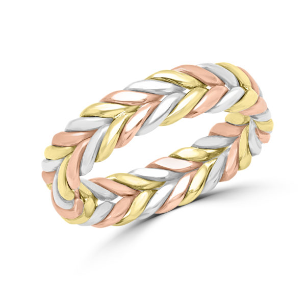 Tri color braided wedding band