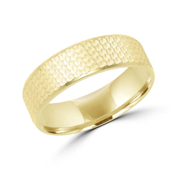 Honeycomb design yellow gold wedding band