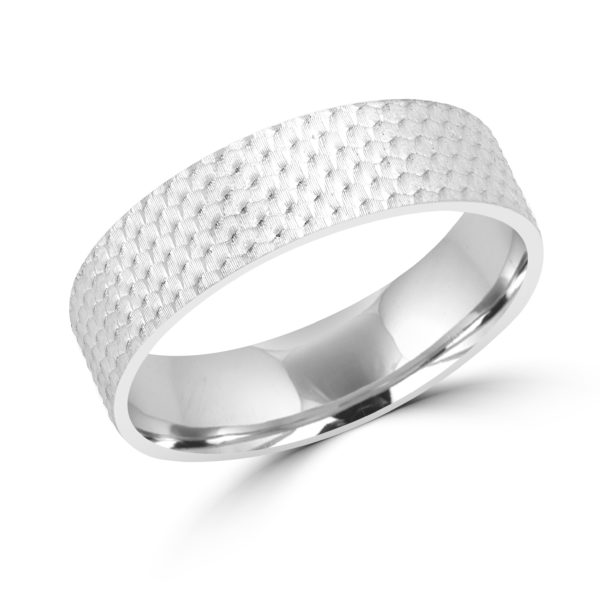 Honeycomb design white gold wedding Band