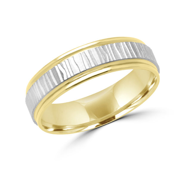 Marks of love white & yellow wedding band (6mm)