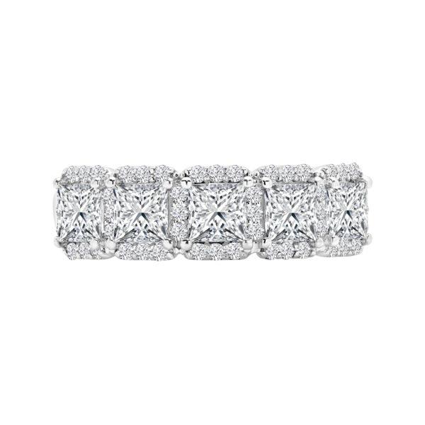 Princess cut semi eternity halo gallery ring 2.40 (ctw) 14k gold
