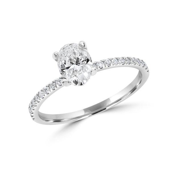 Oval cut diamond engagement ring 1.00 (ctw) 14k white gold