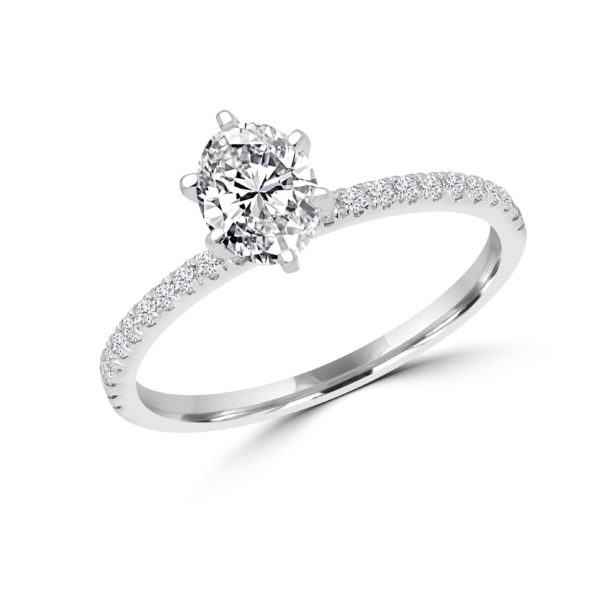 Oval diamond engagement ring 1.00 (ctw) 14k white gold