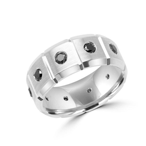 Men's classy black diamond wedding band 1.00 (ctw) 8mm