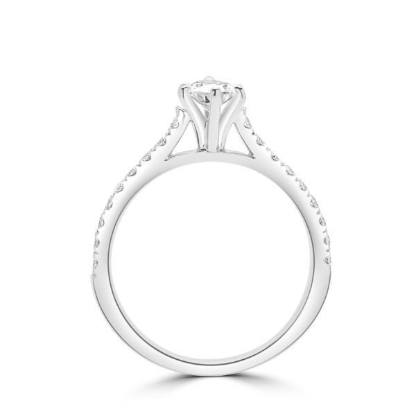 Pear shape engagement ring 0.86 (ctw) in 14k white gold