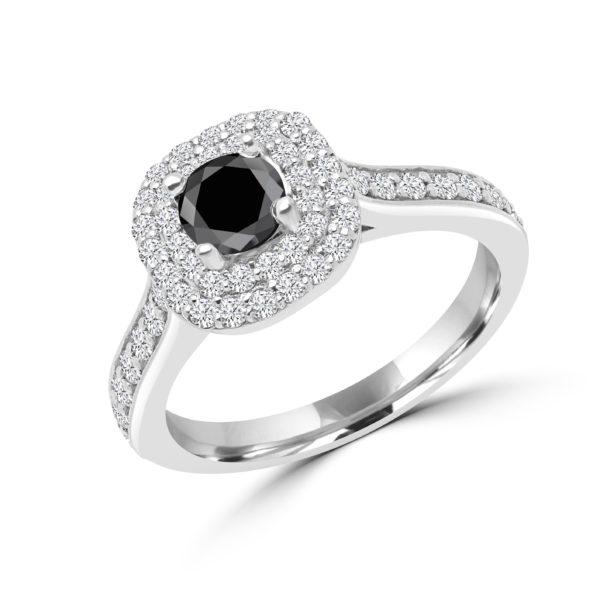 Jaw-dropping black & white diamond halo ring (1.18 ctw)