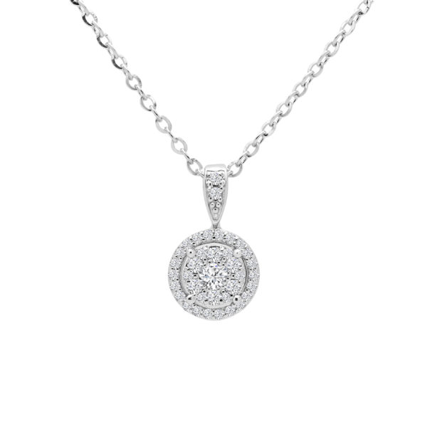Gracious diamond halo pendant 0.45 (ctw) in 14k white gold
