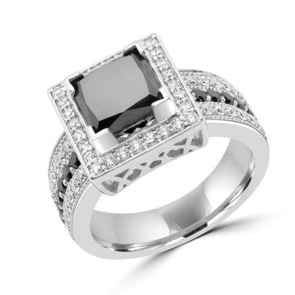 Emerald cut black & white diamond halo ring 4.53 (ctw) 14k gold (1)