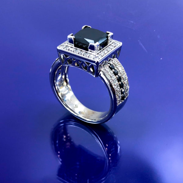 Emerald cut black & white diamond halo ring 4.53 (ctw)