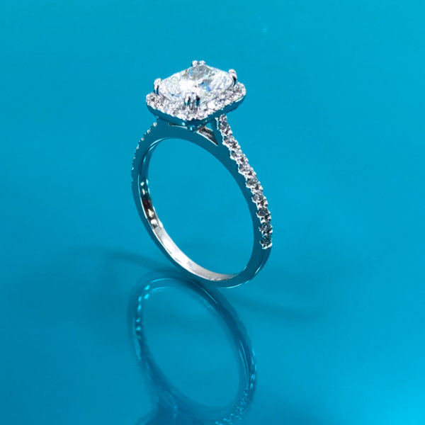 Radiant cut engagement ring 1.55 (ctw ) in 14k white gold