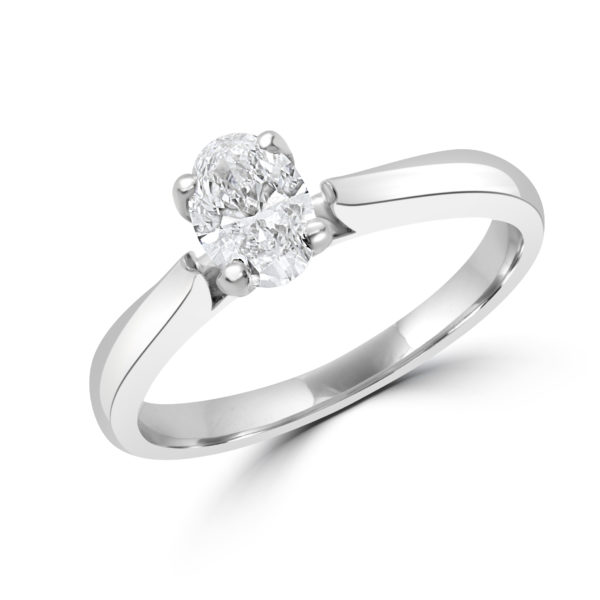 Oval cut solitaire diamond ring 0.50 (ctw) in 14k white gold