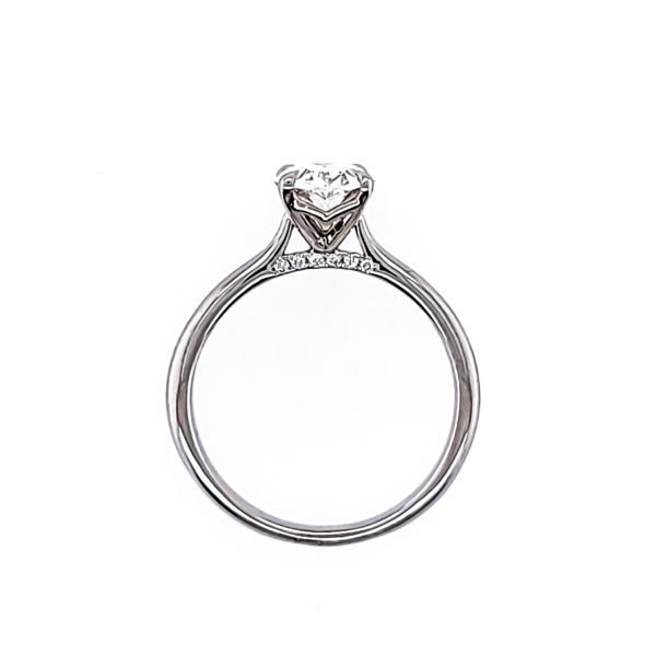 Oval cut solitaire ring diamond ring 1.33(ctw) in 14k white gold