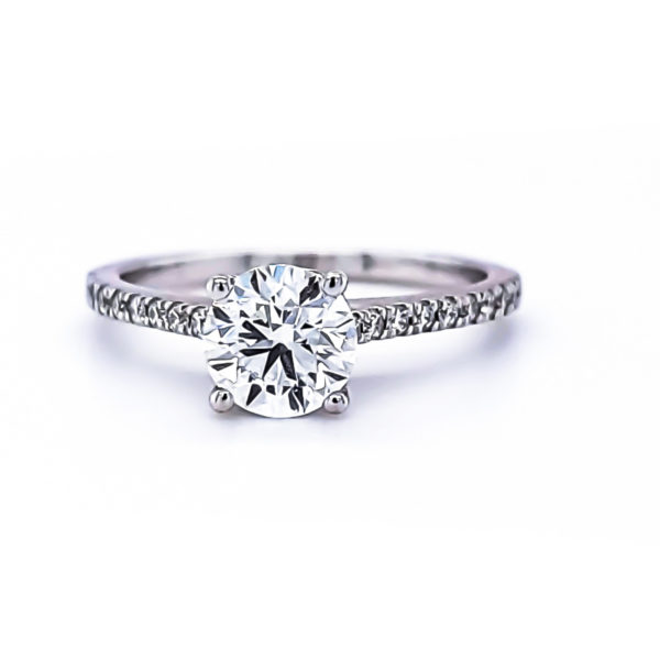 Hidden halo solitaire ring 1.25 (ctw) in 14k white gold