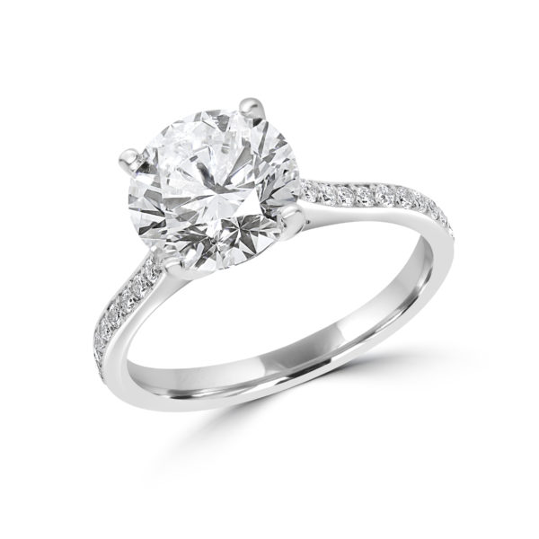 Statement solitaire engagement ring 2.81 (ctw) in 14k white gold