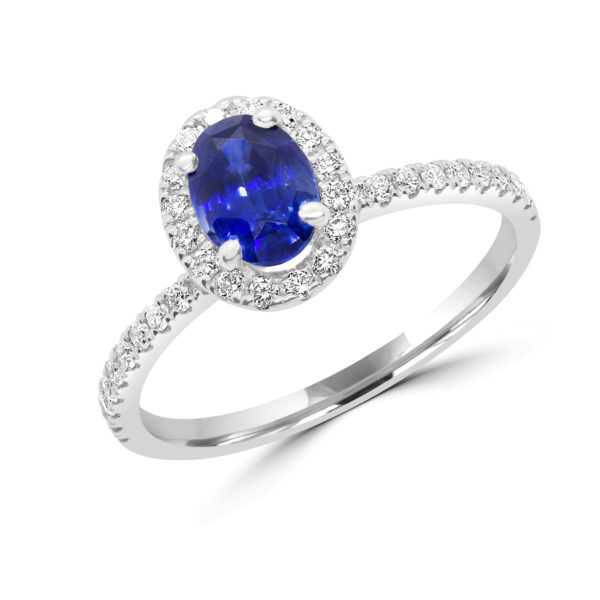 Bright blue sapphire halo ring in 1.48 (ctw) in 14k white gold