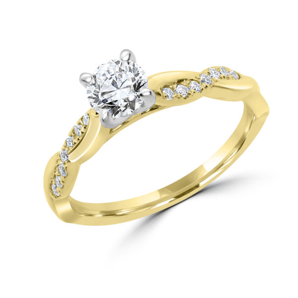 Twisted solitaire diamond ring 0.64(ctw) in 14k gold