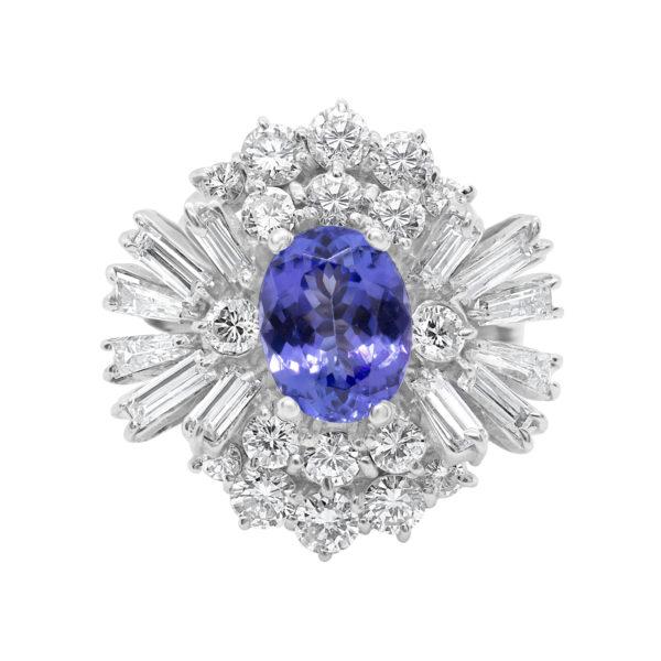 Royal tanzanite & diamond ring 3.64 (ctw) in 18k white gold